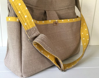Camel Linen Look Bag with Yellow x Lining