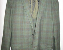 intage 6os, J C PENNEYs 'towncraft' unstructured smokey green khaki shadow plaid mens 2 button single breasted single vented blazer size 44R