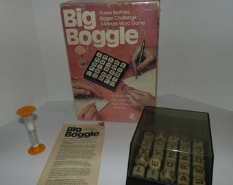 Vintage 1983 Big Boggle 3 Minute Word Game Parker Bros for 2 to 6 players Complete