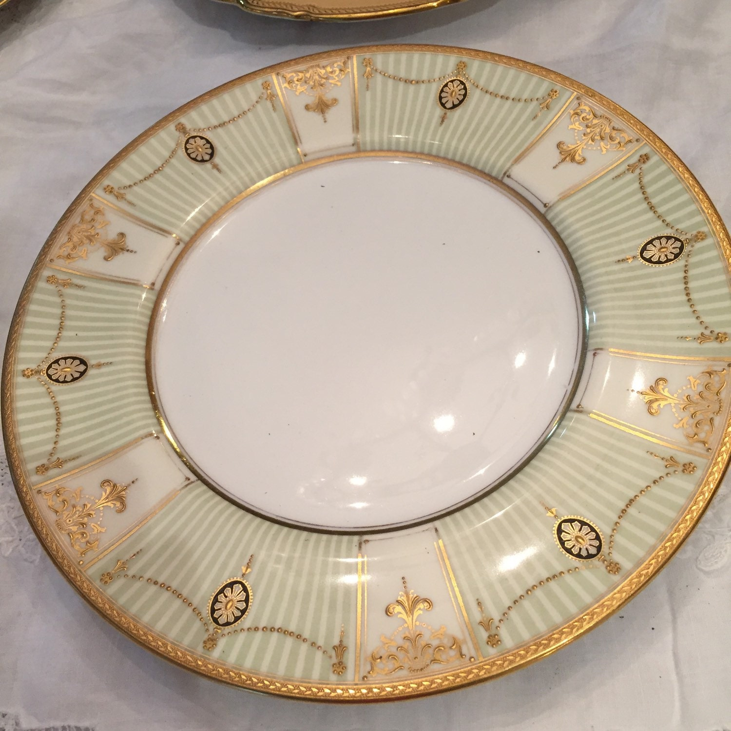 Antique Plates/Royal Doulton/5 Dinner Plates/Neo Classical/Green  Stripes/22Kt Raised Gold Embellishments/ Circa 1914 /Display / Wedding Gift