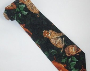 Mens BIG CATS NECKTIE Cotton Tie Tiger Big Cat Jaguar Leopard Lion Pride Amazon Jungle Leafy