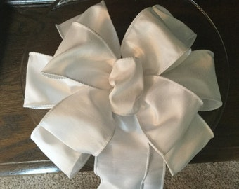 """Pure White Dupioni Silk look ribbon beautiful bow many colors available for wedding pew wreaths decoration 10"""" wide  18"""" long"""