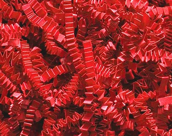 Crinkle Cut Paper Shred- Basket Filler- Red 8 Oz.