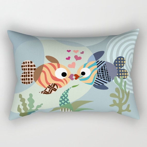Kissing Fish Pillow, Fish Pillow, Love Pillow,  Love Decor,  Valentine Gift,  colourful Pillow, Cute Pillow, Ocean Blue, Turquoise, Teal