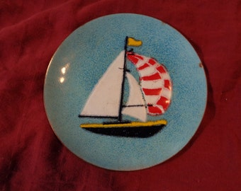 Anne Marie Davidson Sailboat Cloisonne enamel plate