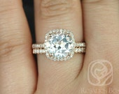 Barra 9mm 14kt Rose Gold Round White Topaz and Diamonds Cushion Halo Wedding Set (Other metals and stone options available)