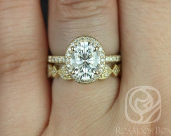 Chantelle 9x7mm & Marquisa 14kt Yellow Gold Oval F1- Moissanite and Diamond Halo Wedding set (Other metals and stone options available)