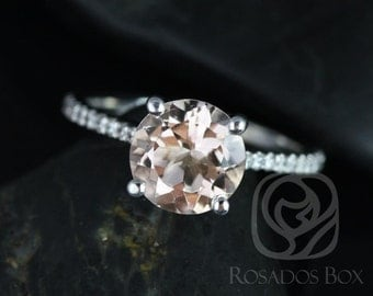 DIAMOND FREE Eloise 8mm 14kt White Gold Round Morganite and White Sapphire Cathedral Engagement Ring