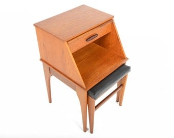 Mid Century Modern Teak Telephone Bench Nightstand by Chippy