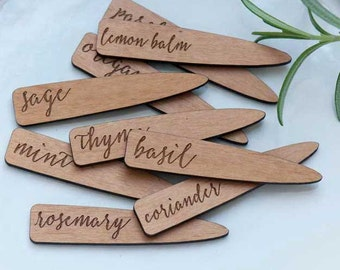 Herbs Mini Plant Markers, Garden Pegs