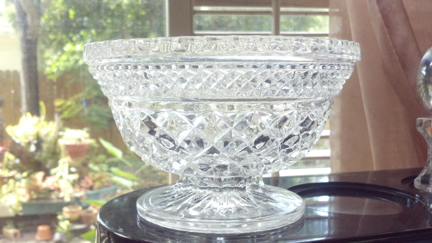 Vintage Lead Crystal Compote Candy Dish Pedestal By
