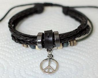 067 Men bracelet Women bracelet Leather bracelet Peace sign bracelet Charm bracelet Beads bracelet Rings bracelet Fashion bracelet
