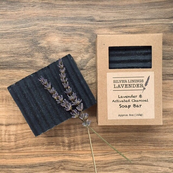 Lavender & Activated Charcoal Soap Bar - Clarifying Soap - Aromatherapy Soap - Natural Bar Soap - Gifts for Her - Anti Acne Soap