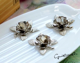 10pcs 3 Colors--Bronze / White K / Golden 20mm Raw Brass Filigree bead caps rose Flower Petals Stamping for bead wraps / caps / flowers