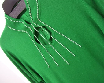 St. Patrick's Green Sweater, Dressy Bling, Crystal Accents, Keyhole Front, Size Medium, Evening Wear, Resort Cruise Wear,