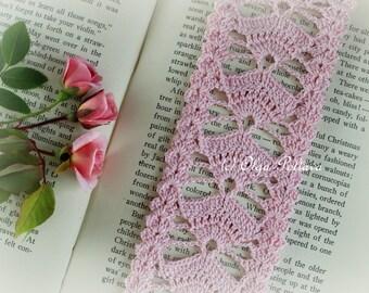 Crochet Bookmark Pattern, Pink Fans Crochet Bookmark, Crochet Lace Edging, Lace Trim, Easy Crochet Pattern