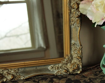 Exquisite Vintage Gold Wall Mirror - Ornate Rectangular Frame - Large Gold Mirror - Vanity Mirror - Victorian Mirror