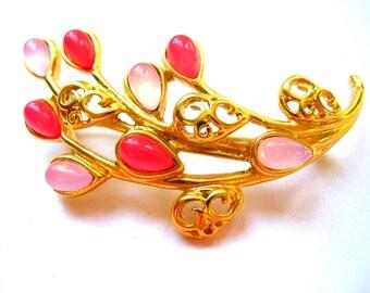 Trifari Brooch and Earring Set - Jewelry Set - Clip on Earrings - Pink Jewelry Set