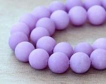 Matte Dyed Jade Beads, Lilac, 8mm Round - 15 inch strand - eFJR-M42-8