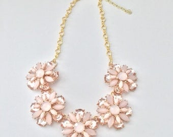 Pink crystal flower statement necklace