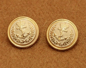 6 pcs 0.79~0.98 inch High-grade Retro White+Gold Crown Anchor Metal Shank Buttons for Coats Cardigans