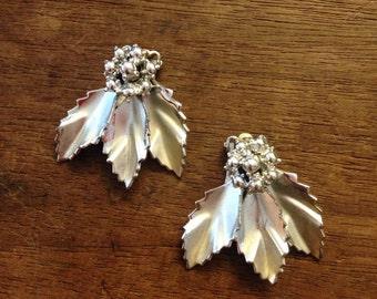 CORO Silver Leaf Clip Earrings