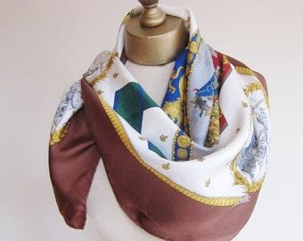 Vintage silk scarf, French silk scarf, hand rolled, European scarf, large square scarf, silk headscarf, square silk scarf, Marelli silk