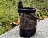 Rock Climber's Chalk Bag, Multicolor Black, Blue, Red and Gold, Handstitched Top Collar, Drawstring Pouch, Dog Walkers Bag - Streamer Design