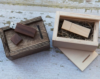 USB Wood box with 8gb wood USB flash drive included