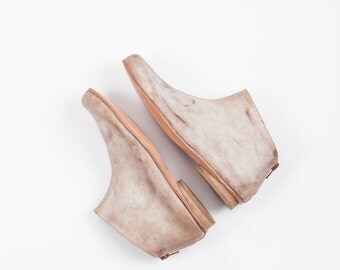 Beige ankle boots, Leather flat boots, Winter shoes, Everyday shoes