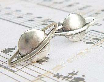 Saturn - antique silver post earrings