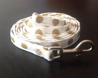 Dog Leash - Gold And White Polka Dot