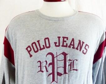 vintage 90's Polo Jeans Company Ralph Lauren PRL heather grey long sleeve graphic t-shirt designer block letter logo wine red trim large