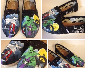 Hand Painted Nightmare Before Christmas Toms Canvas Shoes/Made to Order