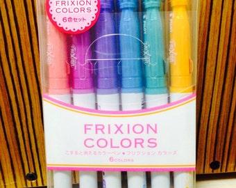 Pilot Frixion Colors Erasable Marker Pens Set - 6 Pastel Colors