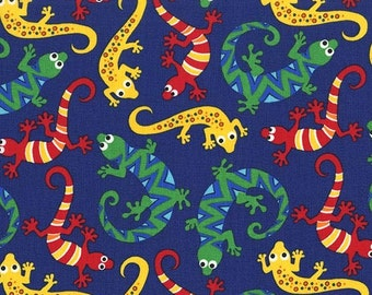 Fat Quarter Scaly Lizards Navy 100% Cotton Quilting Fabric - Michael Miller