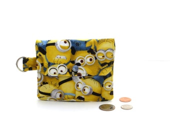 Minion wallet, fun print wallet, small wallet, yellow zipper coin purse, kids wallet, fabric card holder, childrens coin purse