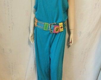 Turquoise knit 80's-90's jumpsuit.