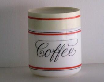 MILK Glass COFFEE CANISTER/Coffee Jar/Coffee Storage Jar/Coffee Container/Kitchenware/Kitchen Storage/Coffee Jars/Covered Coffee Canisters