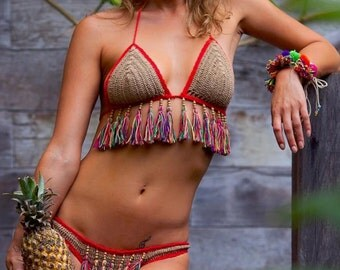 Crochet Tassel Bikini.