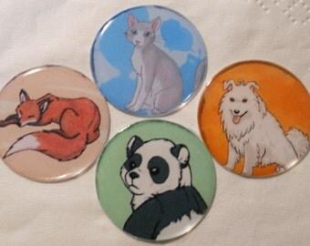 4 animal magnet - cute - dog cat fox panda bear