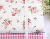 Sale- Floral Cotton Fabric, Pink Rose Flower Plaid Cotton Fabric, Quilting Fabric Cotton -  1/2 yard