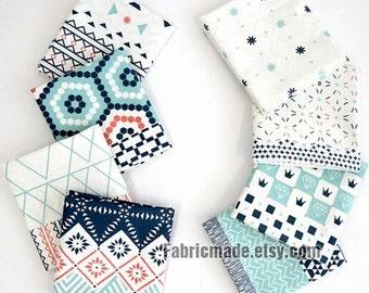 Linen Fabric Cloth, Blue Geometric Patchwork Linen Cotton Blended Fabric- One Panel 145X85cm