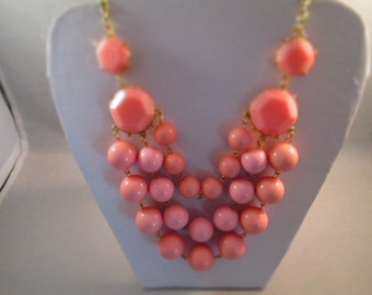 3 Strand Pink Bib Necklace on a Gold Tone Chain