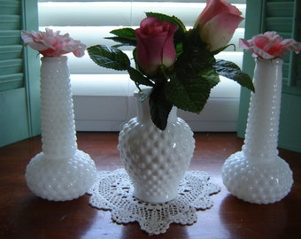 Vases white milkglass wedding table decor 3 pc set party decor table centerpiece bud vases holiday decor Easter decor wedding