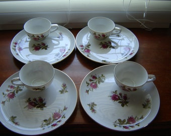 Vintage Moss Rose china Laurel Jubilee Japan 8 pc luncheon set wedding decor pink rose china party decor serving dining