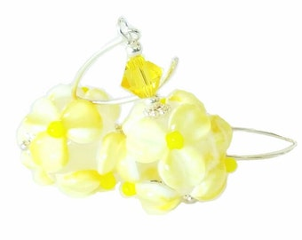 Beautiful textured yellow flower lampwork bead earrings, with stunning yellow Swarovski Crystals, Sterling Silver