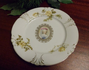 Unmarked Early Germany Porcelain Victorian Lady Portrait Plate  (T)