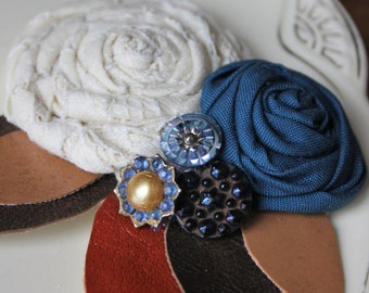 Rustic Flower Hair Clip // Recycled Leather Blue Jewel Hair Clip // Ready to Ship Hair Clip