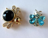 Lot of 2 Vintage Rhinestone Insect pins, Black Bee brooch, Turquoise Butterfly brooch, gift idea